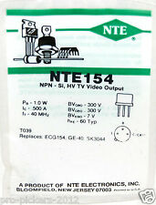Nte154 Bipolar (Bjt) Single Transistor, Npn, 300 V, 50 Mhz, 1 W, 200 mA, 40 hFe