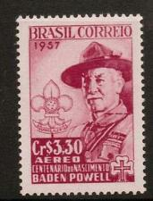 BRAZIL SG961 1957 BIRTH ANNIV CENT OF LORD BADEN POWELL MNH