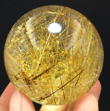 "274g RARE NATURAL ""Rutilated"" quartz crystal sphere ball healing Y8188"