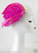 Hot Pink Feather Fascinator Headpiece Races Hat Hair Clip Races Silver Deco R37