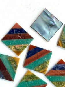V183 - 10 Vintage Multi Stone Diagonal Inlay Mosaic Tile Cabs - 13mm Square