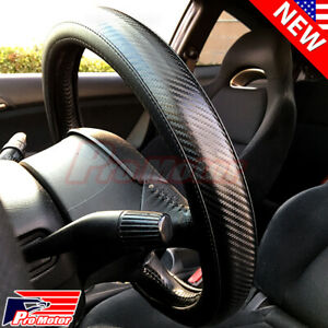Premium Black Carbon Fiber Leather Steering Wheel Cover Protector Slip-On Sport