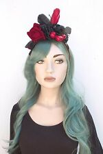 Red Rose Cherry Burlesque Feather Festival Flower Crown Headband