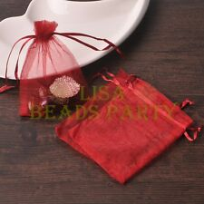 100pcs 16x11cm Organza Wedding Party Decoration Gift Candy Sheer Bags Deep Red