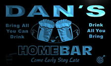 p179-b Dan's Personalized Home Bar Beer Family Name Neon Light Sign