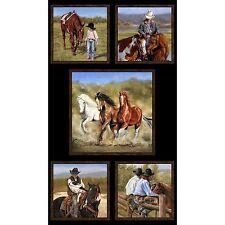 """Happy Trails Western Cowboy Horses Open Range 5 Quilt Squares Cotton 24"""" x 44"""""""