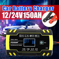 Car Battery Charger 12/24V 6-150Ah LCD ATV Motorcycle Pulse Repair Automatic US