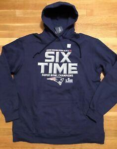New England Patriots Six Time Super Bowl Champion Hoodie Mens Small Nwt Fanatics