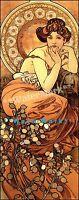 Topaz 1900 Mucha Stones Series Vintage Poster Print Retro Style Art Nouveau