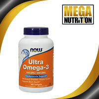 NOW Foods Ultra Omega 3 500 EPA/250 DHA 180 Softgels   Fish Oils Cardio Support