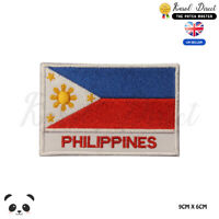 PHILIPPINES National Flag With Name Embroidered Iron On Sew On Patch Badge