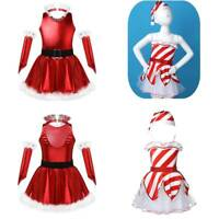 Christmas Girls Dress Costume Mesh Tutu Leotards Dress Outfit Toddler Party Wear