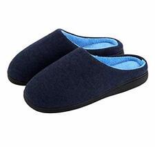 Men's Indoor/Outdoor Comfort Memory Foam Cotton House Slippers 11-12 Wide Navy