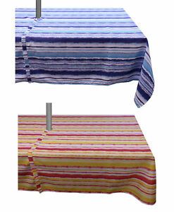 Tablecloth Striped Rectangle Round Outdoor Table Linen with Parasol Hole & Zip