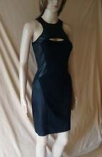 BNWT WOMENS JANE NORMAN BLACK PU TRIM BODYCON DRESS UK SIZE 12 EU 38