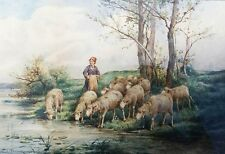 EARLY WOMAN TENDING HER SHEEP WATERCOLOR PAINTING BY NOTED ARTIST FRANK BRISSOT