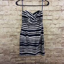 H&M Strapless Dress Navy And White Striped Size 4