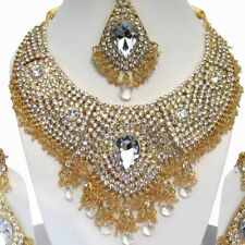 Indische traditionelle Braut Design Gold Plated Party Wear Zirkon Schmuck Halske