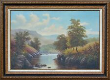 Landscape Oil Painting, River, Mountains & Wildlife OUTSTANDING DETAIL & LARGE!!