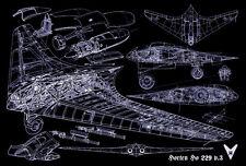"""WWII Luftwaffe Horten Ho 229 Blueprint Art 13""""x19"""" Print Poster"""