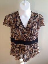 Lane Bryant Women's Sheer Brown Black Animal Print Short Sleeve Top (Size 14/16)