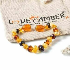 REAL Polished Mixed Baltic Amber Child Anklet Bracelet Love Amber x Pebble Beach