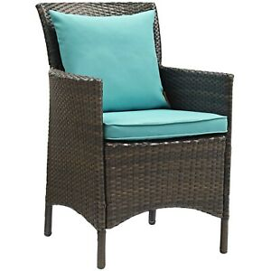 Modway Conduit Outdoor Patio Wicker Rattan Dining Armchair - Brown Turquoise