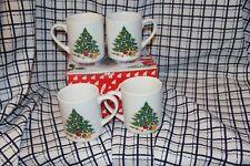 (4) Vintage Himark Holidays Festive Christmas Tree Ceramic Mug / Coffee Cup