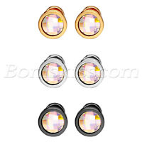 6pcs Men's Women's Charm Stainless Steel Colorful Glass Round Ear Studs Earrings