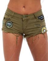 NEW Womens Size 6 8 10 12 14 Khaki DENIM SHORTS Ladies Badge Jean HOTPANTS Short