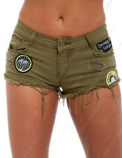 NEW Womens Size 6 8 10 12 14 Khaki DENIM SHORTS Ladies Badge Jean HOTPANTS Short
