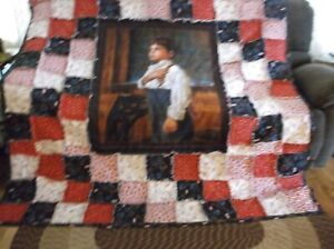 """"""" I Pledge Allegiance """" Cute Boy large Panel Rag Quilt.. Large and Warm"""
