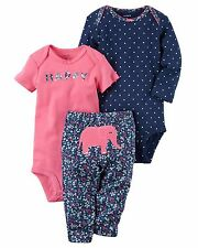 NEW NWT Girls Carter's Preemie Premature 3 Piece Elephant Set Bodysuits and Pant