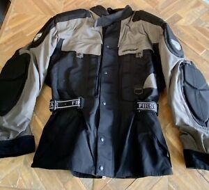 First Gear Kilimanjaro HyperTex motorcycle riding jacket Men's Size L BLK/Gray