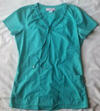 Women's Koi Pull-On V-Neck Light Weight Short Sleeve Light Blue Scrub Top Sz Xs!