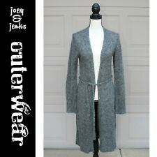 Women's Express Gray Long Cardigan Sweater Long Sleeve Kimono w/ Tie Large