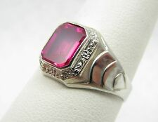 Antique Art Deco 10k White Gold Ruby Ostby Barton OB Signed Ring Size 8