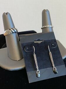 Sterling Silver 925 Onyx & Marcasite set of Pierced Earrings and 2 Rings