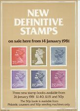 ROYAL MAIL A4 POST OFFICE POSTER GRILLE DEFINITIVE - 1981 MACHIN 2½p to 25p