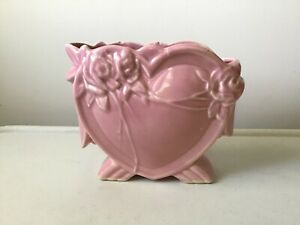 McCoy Pink Heart Vase Vintage Mid Mod Era Planter