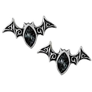 ALCHEMY BAT EARRINGS VIENNESE NIGHTS Gothic Studs Pewter Black Goth + FREE POUCH