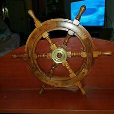 "NAUTICAL WOODEN SHIPS WHEEL SEA DECOR WOOD & BRASS 18"" Diameter"