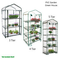 3-5 Tier Portable Walk In Greenhouse 6 Shelves PE Cover Plant Garden Green House
