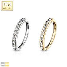 14K. GOLD Gem Hoop NOSE LIP EAR Rings Helix Daith Cartilage Rook Snug Jewelry