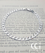 "Small Fine 9ct White Gold Ladies Solid Curb Bracelet 7.5"" GIFT BOXED"