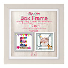 18cm Square Grey Wooden Deep Shadow Box 3D Photo Picture Frame Scrabble Display
