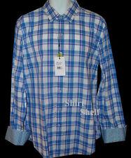 $398 Robert Graham Western Blue Check Pattern Shirt - Geometric Duo Cuffs M New