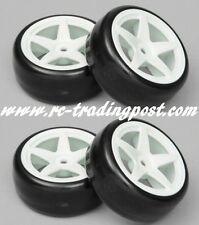 5 Star White Wheels With Hard Drifting Tires 1/10th Scale 26mm (4pc) RC Drift