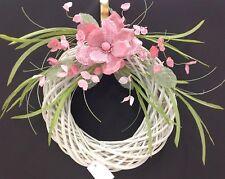 "White Rattan Wreath~Pink Fabric/Burlap Magnolia. 26""  Artificial"