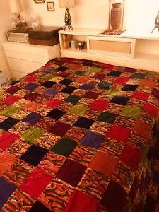 Vintage Velvet Patchwork Crazy Quilt King Bedspread Boho Colorful 80 By 110